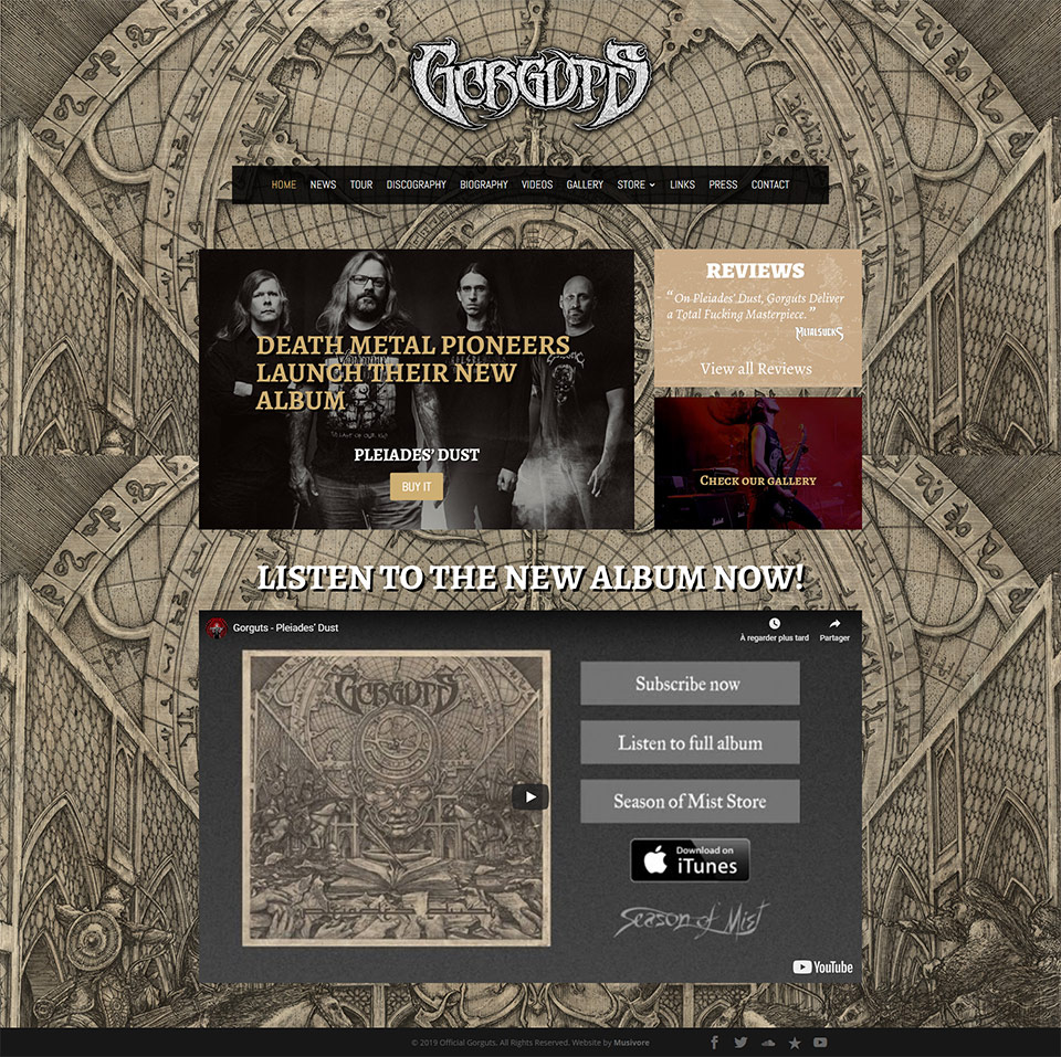 Capture d'écran Site web Gorguts